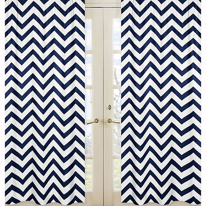 Alternate image 1 for Sweet Jojo Designs Chevron Window Panel Pair in Navy/White