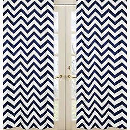 Sweet Jojo Designs Chevron Window Panel Pair in Navy/White