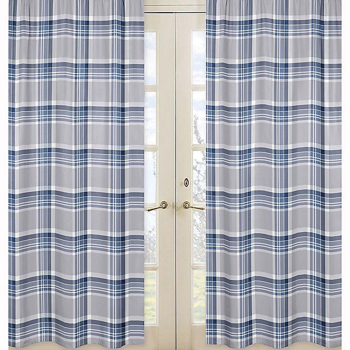Alternate image 1 for Sweet Jojo Designs Plaid Window Panel Pair in Navy/Grey