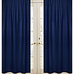 Sweet Jojo Designs Navy and Grey Stripe Window Panel Pair in Navy