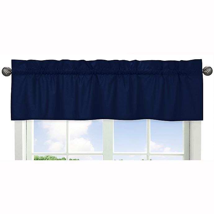 Alternate image 1 for Sweet Jojo Designs Navy and Grey Stripe Window Valance in Navy