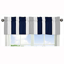 Sweet Jojo Designs Navy and Grey Stripe Window Valance