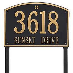 Whitehall Products Cape Charles 2-Line Estate Lawn Plaque in Black/Gold