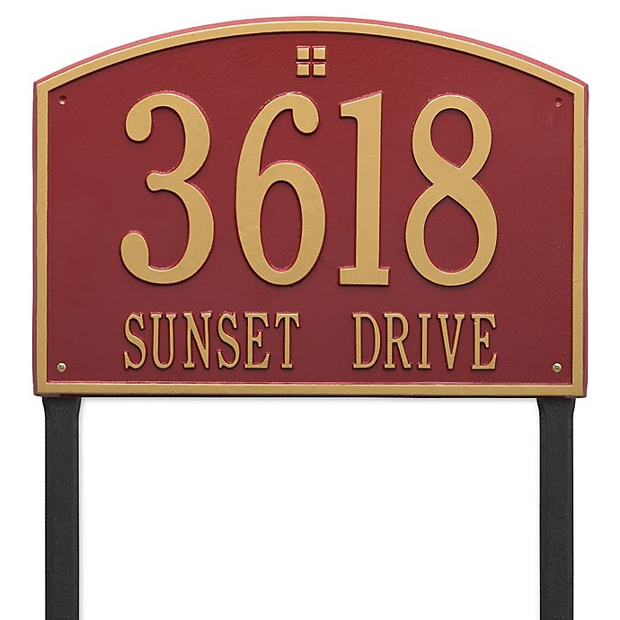Alternate image 1 for Whitehall Products Cape Charles 2-Line Estate Lawn Plaque in Red/Gold