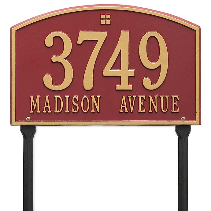 Alternate image 1 for Whitehall Products Cape Charles 2-Line Standard Lawn Plaque in Red/Gold