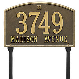 Whitehall Products Cape Charles 2-Line Standard Lawn Plaque in Antique Brass
