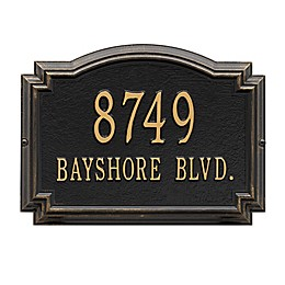 Whitehall Williamsburg 2-Line Standard Wall Plaque in Black/Gold