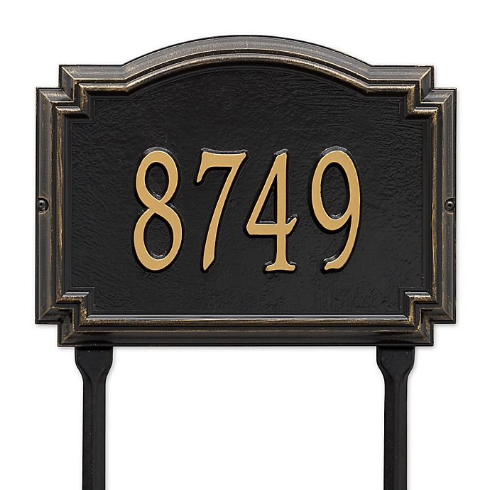 Alternate image 1 for Whitehall Products Williamsburg 1-Line Standard Lawn Plaque in Black/Gold