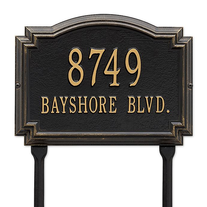 Alternate image 1 for Whitehall Products Williamsburg 2-Line Standard Lawn Plaque in Black/Gold