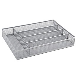 ORG Powder-Coated Small Mesh Cutlery Tray in Silver