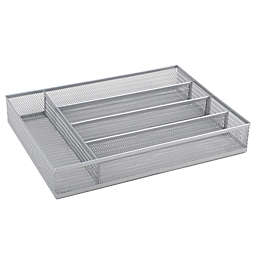 .ORG Powder-Coated Small Mesh Cutlery Tray in Silver