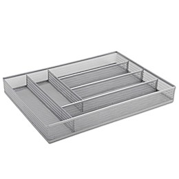 ORG Powder-Coated Large Mesh Cutlery Tray in Silver