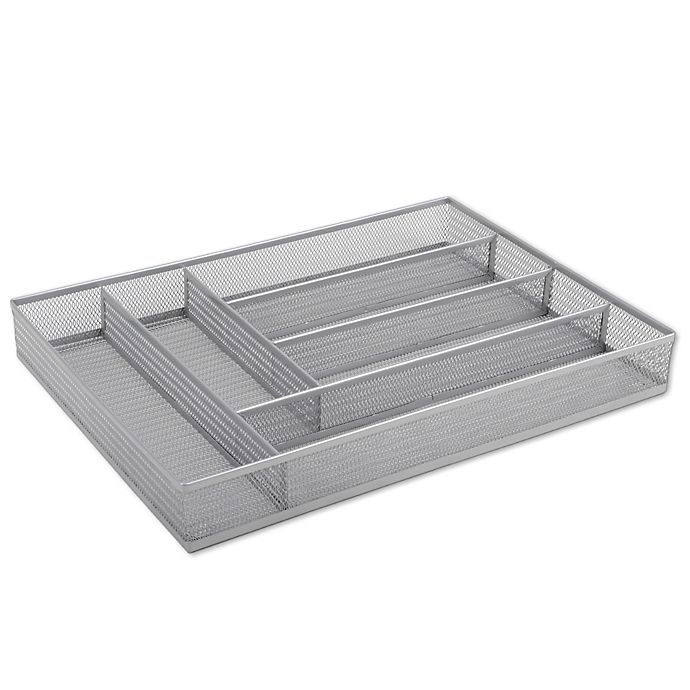 Org Powder Coated Large Mesh Cutlery Tray In Silver Bed