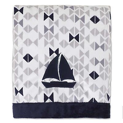 Nautica Kids® Mix & Match Velboa Sailboat Blanket in Navy/Grey