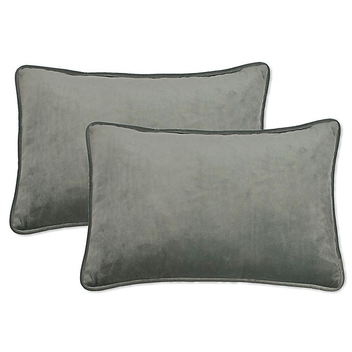 Alternate image 1 for Sherry Kline Richmond Velvet Boudoir Oblong Throw Pillow in Silver Grey (Set of 2)