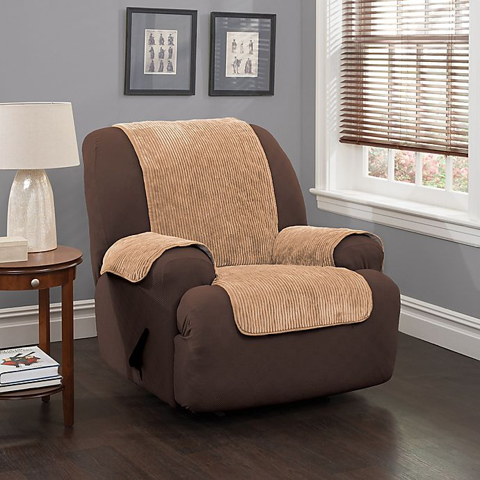 Alternate image 1 for Plush Stripe Recliner and Wingback Chair Cover in Camel