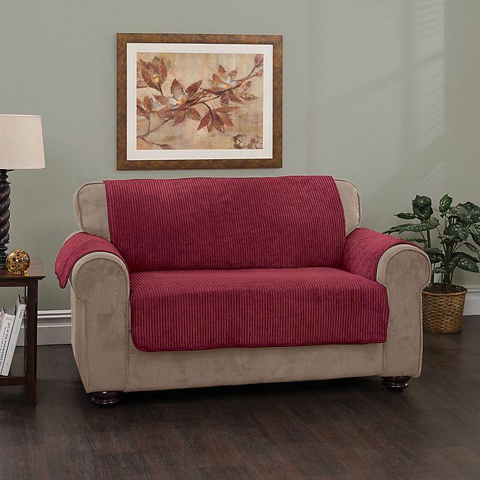 Alternate image 1 for Plush Stripe Sofa Cover in Burgundy