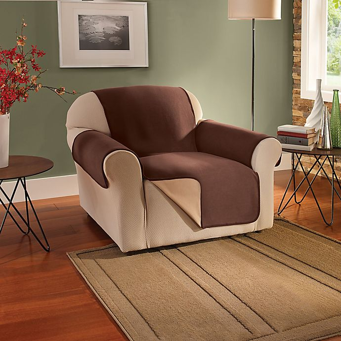 Alternate image 1 for Innovative Textile Solutions Fleece Waterproof Reversible Chair Protector in Chocolate
