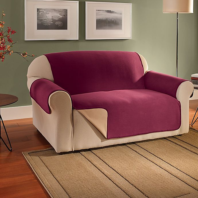 Alternate image 1 for Innovative Textile Solutions Fleece Waterproof Reversible Sofa Protector in Burgundy