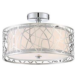 Quoizel Platinum Collection Abode 3-Light Semi-Flush Mount Ceiling Lamp in Chrome