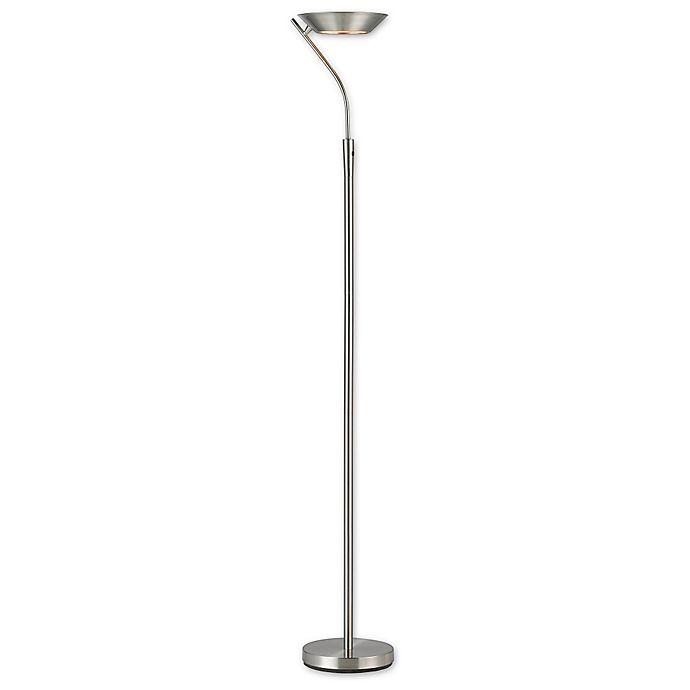 Alternate image 1 for Adesso® Saturn Satin Steel Torchiere Floor Lamp