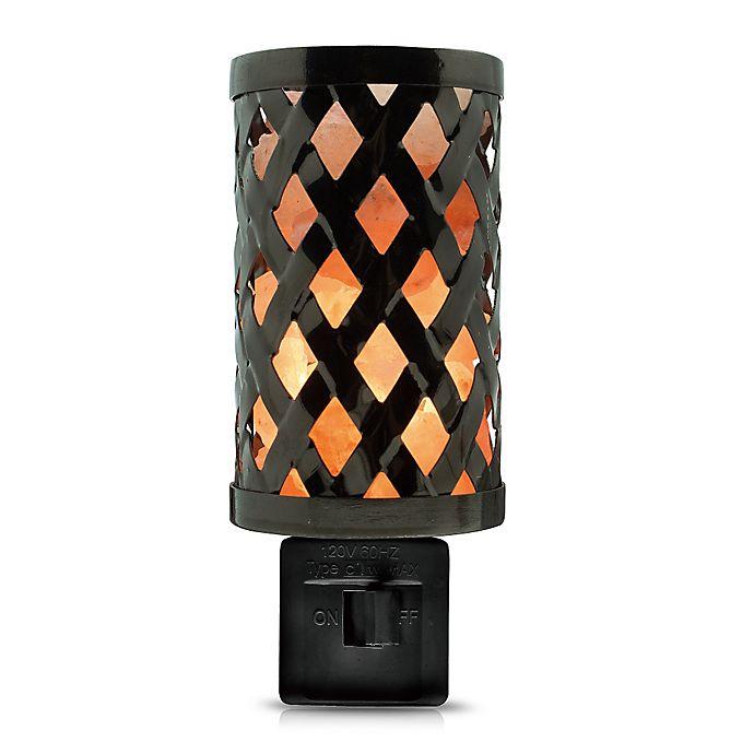Alternate image 1 for Himalayan Glow® Salt Lattice Metal Nightlight in Black