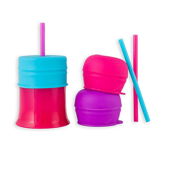 Alternate image 1 for Boon® SNUG 3-Pack Straw and Cups in Pink/Purple/Blue