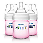 Philips Avent 3-Pack 4 Oz. Polypropylene Wide-Neck Anti-Colic Bottle in Pink