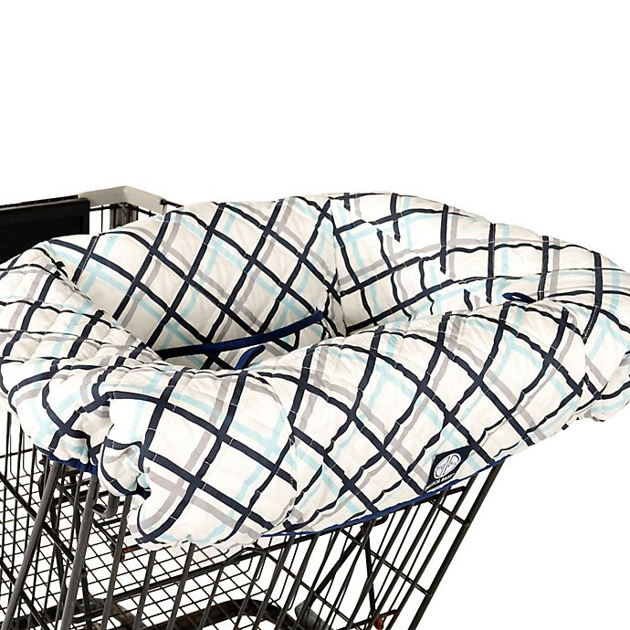 Alternate image 1 for Balboa Baby® Shopping Cart and High Chair Cover in Navy Plaid