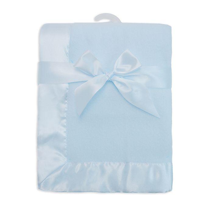 Alternate image 1 for TL Care® Fleece Blanket with Satin Trim in Blue
