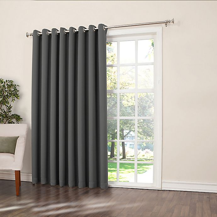 Alternate image 1 for Sun Zero Bella 84-Inch Room-Darkening Extra-Wide Grommet Patio Door Panel in Grey