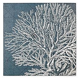 White Coral Wood Print Wall Art in Marine