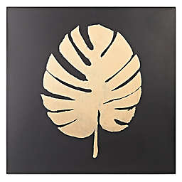 Metallic Palm Frond on Black Wall Art