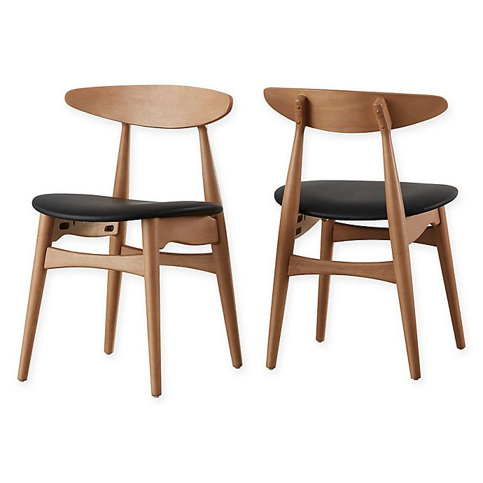 Alternate image 1 for iNSPIRE Q® Paloma Mid-Century Dining Chairs in Natural/Black (Set of 2)
