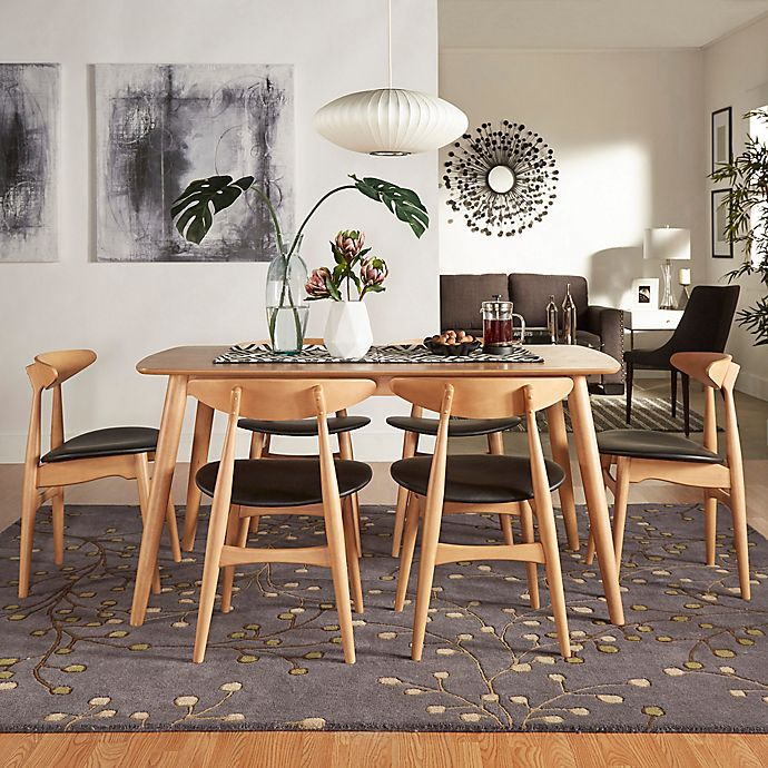 Alternate image 1 for iNSPIRE Q® Paloma Mid-Century 7-Piece Dining Set with 59-Inch Table in Natural/Black