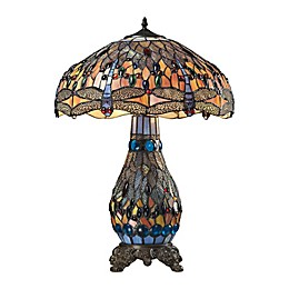 Dimond Lighting Dragonfly 3-Light LED Table Lamp in Dark Bronze with Glass Shade