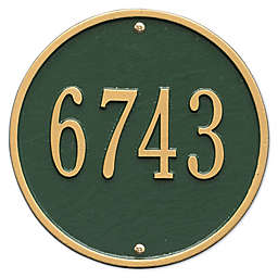 Whitehall Products 9-Inch Standard One Line Round Wall Address Plaque in Green/Gold