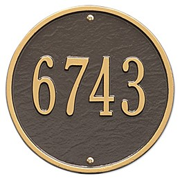 Whitehall Products 9-Inch Standard One Line Round Wall Address Plaque
