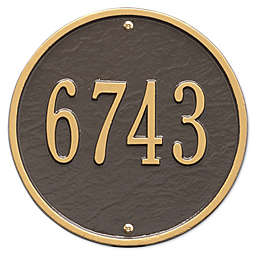 Whitehall Products 9-Inch Standard One Line Round Wall Address Plaque in Bronze/Gold