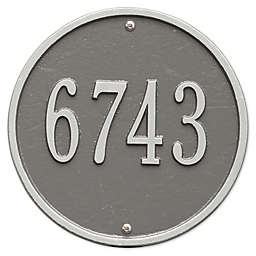 Whitehall Products 9-Inch Standard One Line Round Wall Address Plaque in Pewter Silver
