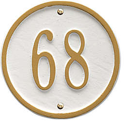 Whitehall Products 6-Inch One-Line Round Address Plaque in White/Gold