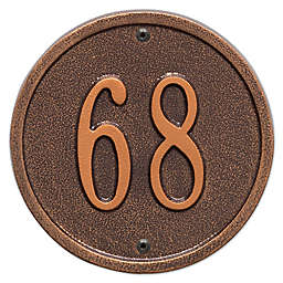 Whitehall Products 6-Inch One-Line Round Address Plaque in Antique Copper