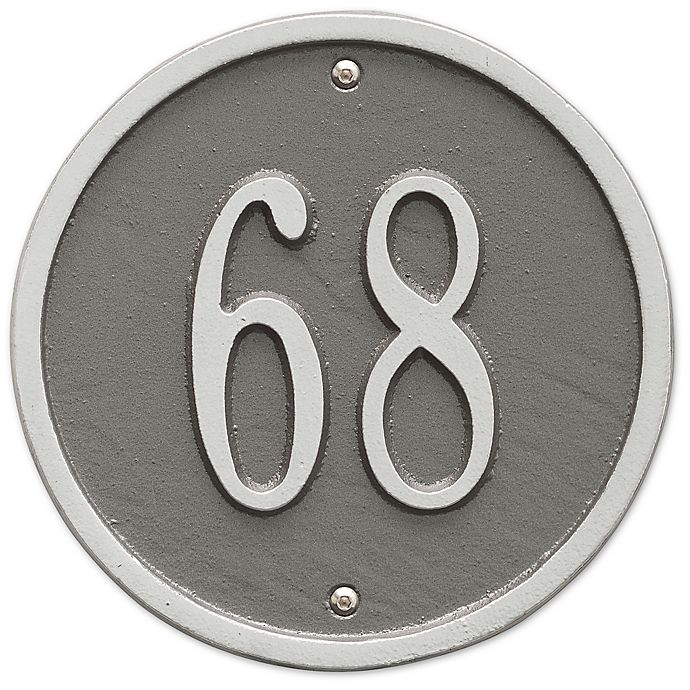 Alternate image 1 for Whitehall Products 6-Inch One-Line Round Address Plaque in Pewter Silver