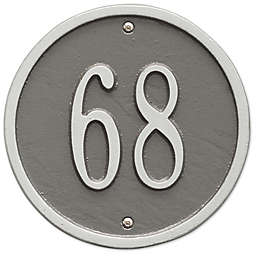 Whitehall Products 6-Inch One-Line Round Address Plaque in Pewter Silver