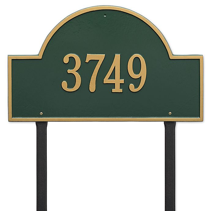 Alternate image 1 for Whitehall Products 23-Inch Arch Marker Address Plaque in Green/Gold
