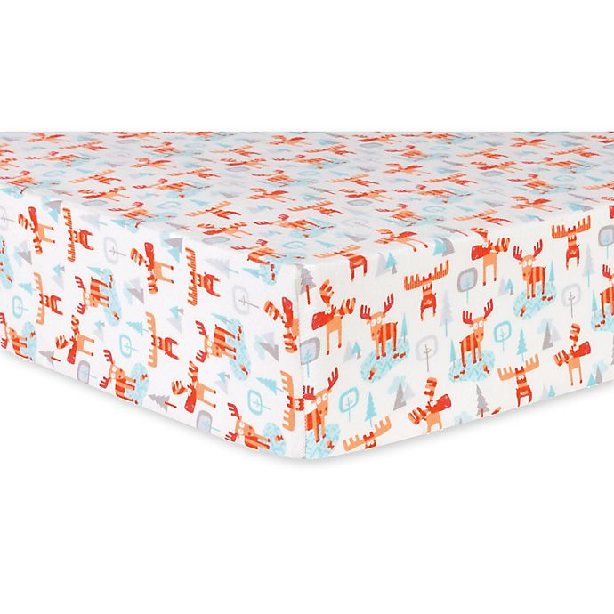 Alternate image 1 for Trend Lab® Winter Moose Deluxe Flannel Fitted Crib Sheet