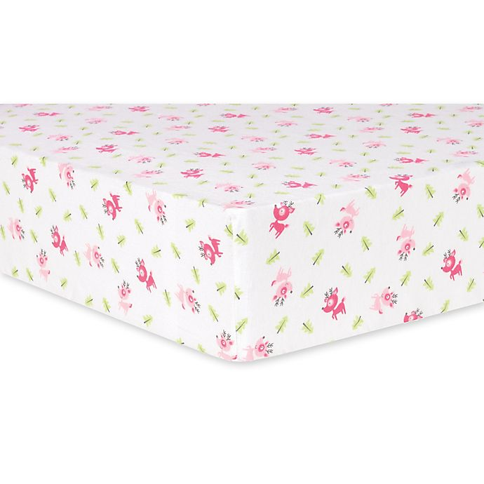 Trend Lab 174 Reindeer Deluxe Flannel Fitted Crib Sheet In