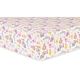 Trend Lab® Animal Safari Deluxe Flannel Fitted Crib Sheet in Pink