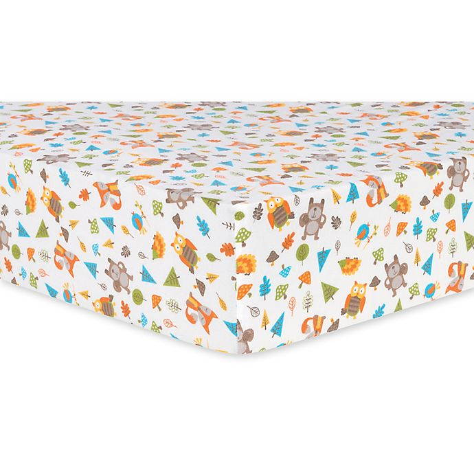 Alternate image 1 for Trend Lab® Woodsy Animals Deluxe Flannel Fitted Crib Sheet