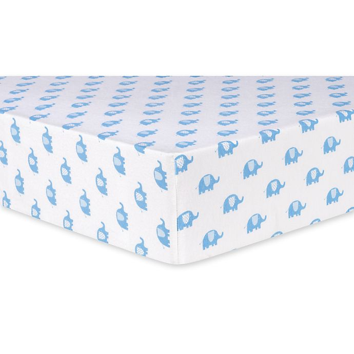 Alternate image 1 for Trend Lab® Elephants Deluxe Flannel Fitted Crib Sheet in Blue